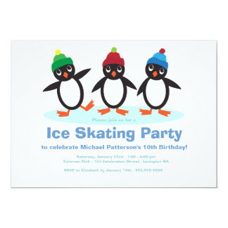 """Fiesta de cumpleaños del patinaje de hielo de los invitación 5"""" x 7"""""""
