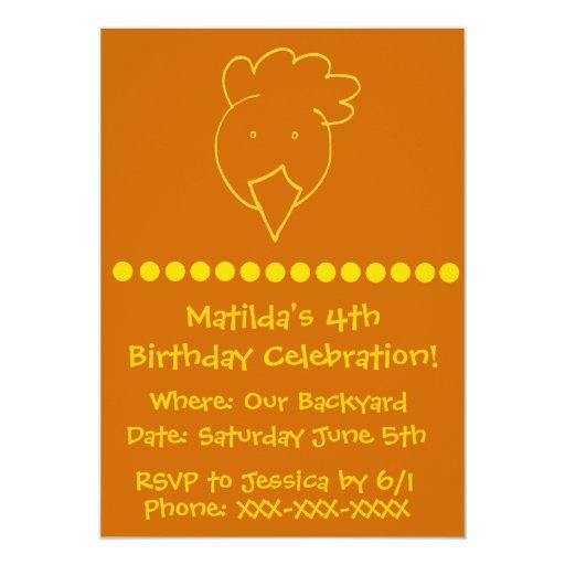 Fiesta de cumpleaños del patio trasero del pollo invitación 12,7 x 17,8 cm