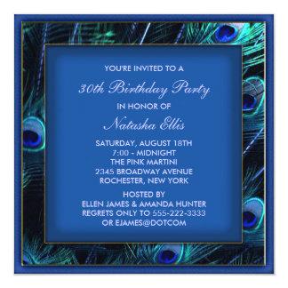 Fiesta de cumpleaños del pavo real de la mujer del invitacion personalizada