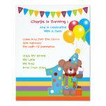 Fiesta de cumpleaños del payaso del oso de peluche anuncios personalizados