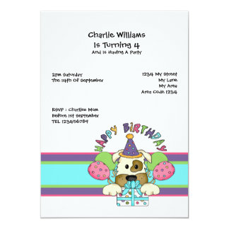 """Fiesta de cumpleaños del perro invitación 5"""" x 7"""""""
