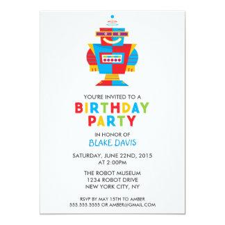"""Fiesta de cumpleaños del robot de la diversión invitación 5"""" x 7"""""""
