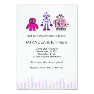 """Fiesta de cumpleaños del robot del chica invitación 5"""" x 7"""""""