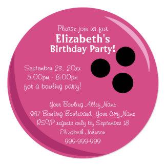 Fiesta de cumpleaños del rosa de la bola de bolos invitación personalizada