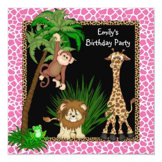 Fiesta de cumpleaños del safari de los chicas anuncios personalizados