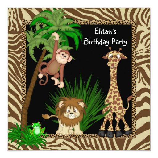 """Fiesta de cumpleaños del safari de selva de los invitación 5.25"""" x 5.25"""""""