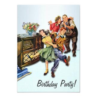 Fiesta de cumpleaños del salto del calcetín retra invitación 12,7 x 17,8 cm