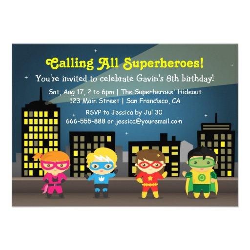 Fiesta de cumpleaños del super héroe del horizonte anuncio