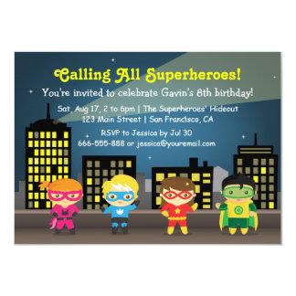 """Fiesta de cumpleaños del super héroe del horizonte invitación 4.5"""" x 6.25"""""""