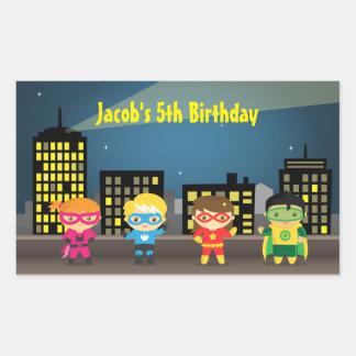 Fiesta de cumpleaños del super héroe del horizonte pegatina rectangular