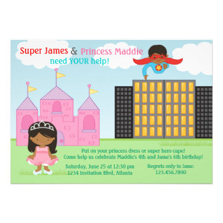 Fiesta de cumpleaños del superhéroe y de princesa