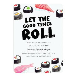 """Fiesta de cumpleaños del sushi invitación 5"""" x 7"""""""