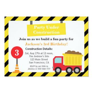 """Fiesta de cumpleaños del tema de la construcción invitación 5"""" x 7"""""""