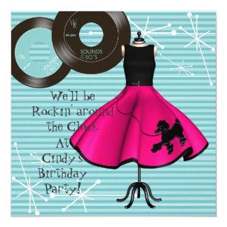 fiesta de cumpleaños del tema de los años 50 invitación 13,3 cm x 13,3cm
