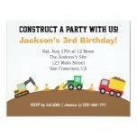 Fiesta de cumpleaños del tema de los vehículos de invitacion personalizada
