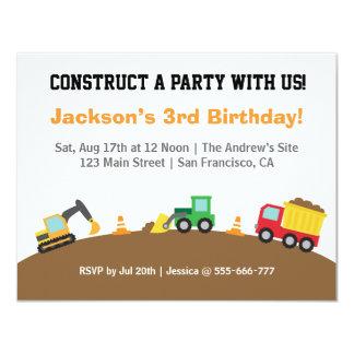 """Fiesta de cumpleaños del tema de los vehículos de invitación 4.25"""" x 5.5"""""""