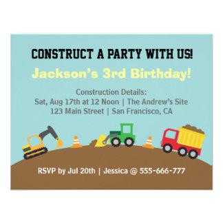 Fiesta de cumpleaños del tema de los vehículos de  invitacion personal