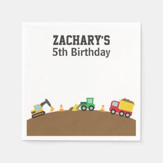 Fiesta de cumpleaños del tema de los vehículos de servilleta desechable