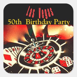 Fiesta de cumpleaños del tema del casino de Las Pegatinas Cuadradases Personalizadas