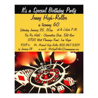 Fiesta de cumpleaños del tema del casino de Las Ve Invitacion Personal
