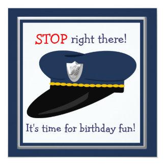 """Fiesta de cumpleaños del tema del poli del gorra invitación 5.25"""" x 5.25"""""""