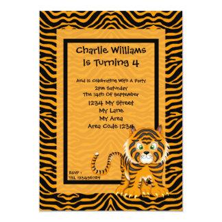 Fiesta de cumpleaños del tigre invitación 12,7 x 17,8 cm