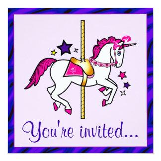 """Fiesta de cumpleaños del unicornio del carrusel invitación 5.25"""" x 5.25"""""""