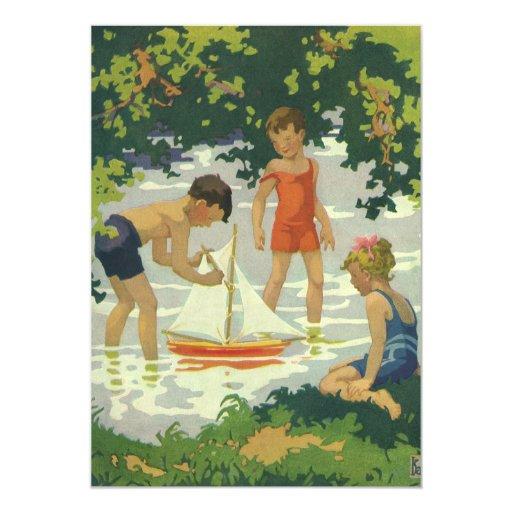 Fiesta de cumpleaños del velero del verano de los invitación 12,7 x 17,8 cm