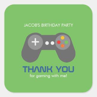 Fiesta de cumpleaños del videojugador pegatina cuadrada