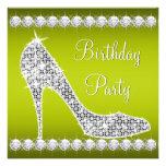 Fiesta de cumpleaños del zapato del tacón alto del invitaciones personalizada