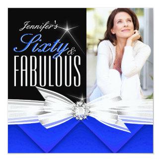 Fiesta de cumpleaños elegante azul fabulosa de 60 invitaciones personales