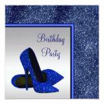 Fiesta de cumpleaños elegante de la plata del azul anuncios personalizados