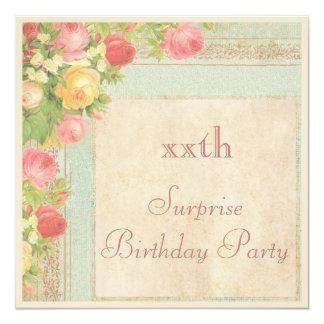 """Fiesta de cumpleaños elegante de la sorpresa de invitación 5.25"""" x 5.25"""""""