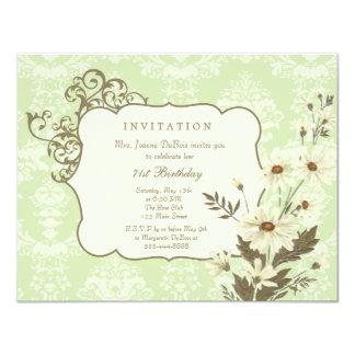 Fiesta de cumpleaños elegante de las margaritas invitación 10,8 x 13,9 cm