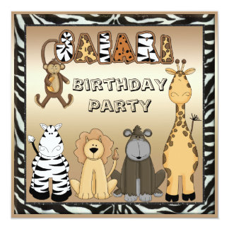 """Fiesta de cumpleaños elegante de los animales invitación 5.25"""" x 5.25"""""""