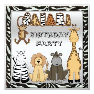 Fiesta de cumpleaños elegante de los animales comunicado personalizado