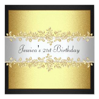 Fiesta de cumpleaños elegante de los rosas del oro invitación 13,3 cm x 13,3cm