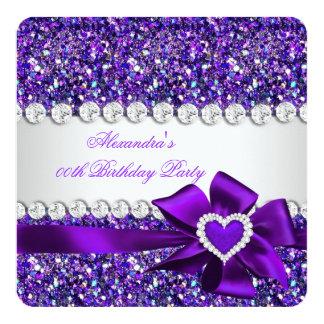 """Fiesta de cumpleaños elegante del arco de Purple Invitación 5.25"""" X 5.25"""""""