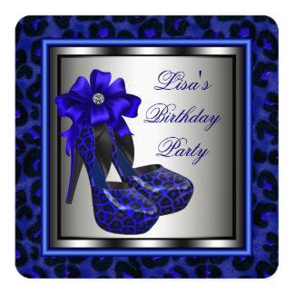 Fiesta de cumpleaños elegante del azul real invitación 13,3 cm x 13,3cm