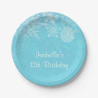 Fiesta de cumpleaños elegante del copo de nieve platos de papel