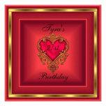 Fiesta de cumpleaños elegante del corazón del oro  invitacion personal