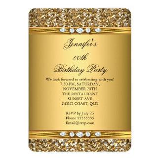 """Fiesta de cumpleaños elegante del diamante de la invitación 5"""" x 7"""""""