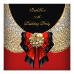 Fiesta de cumpleaños elegante del negro rojo del comunicados personales