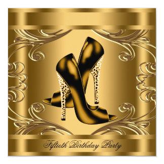 Fiesta de cumpleaños elegante del negro y del oro invitación 13,3 cm x 13,3cm