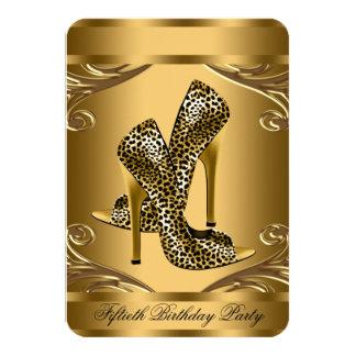 Fiesta de cumpleaños elegante del negro y del oro invitación 8,9 x 12,7 cm