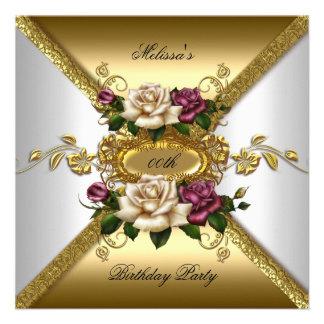 Fiesta de cumpleaños elegante del oro blanco del r