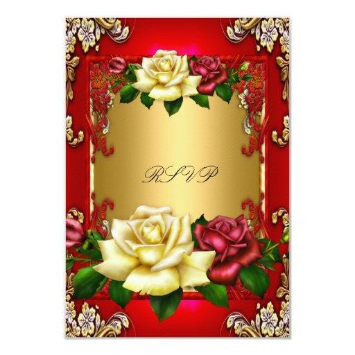 """Fiesta de cumpleaños elegante del oro de los rosas invitación 3.5"""" x 5"""""""