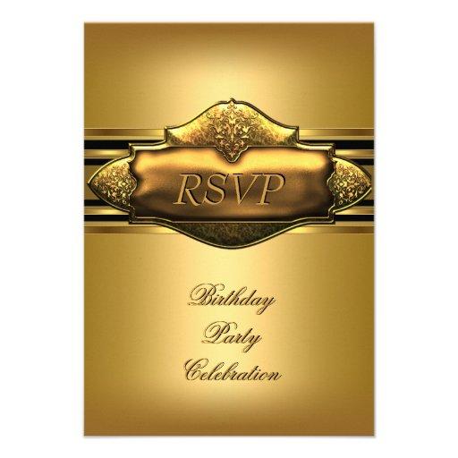 Fiesta de cumpleaños elegante del oro de RSVP para Invitación
