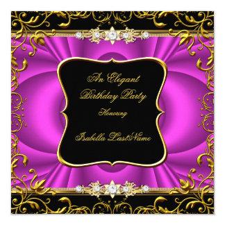 """Fiesta de cumpleaños elegante del oro del negro invitación 5.25"""" x 5.25"""""""