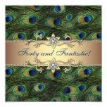Fiesta de cumpleaños elegante del pavo real invitación personalizada